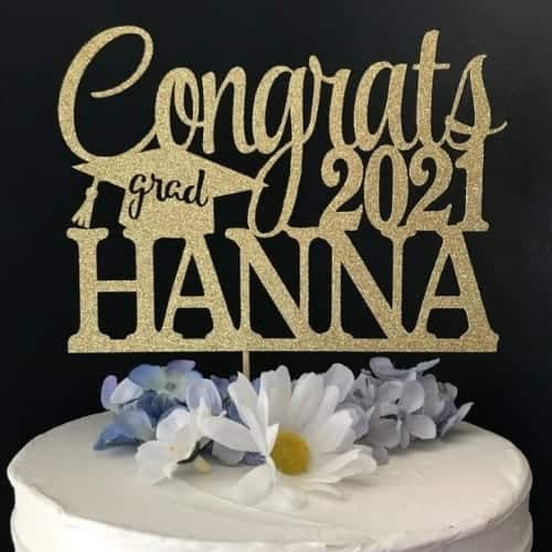 Personalized graduation cake topper is sure to be a show-stealer at any grad party!